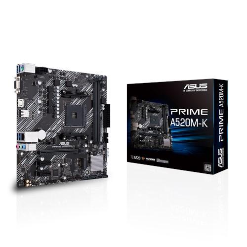 ASUS 主機板 PRIME A520M-K, AMD®A520, AM4, mATX (MB-BA52PMK)